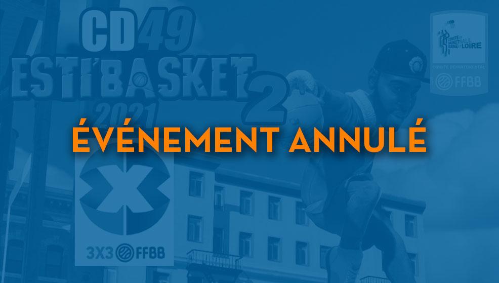 Annulation du Tournoi 3×3 Esti'Basket !!!